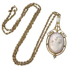 Victorian Lavaliere Necklace 1/20 12K GF Cameo & Fresh Water Pearl