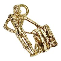 Matador / Bull Fighter Vintage Charm 14K Gold Three-Dimensional