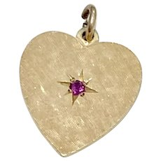 Heart Charm Ruby Accent 14K Gold circa 1967