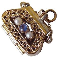 Jeweled Handbag / Purse Vintage Charm, OPENS 14K Gold circa 1950's