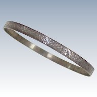 Vintage Solid Bangle Bracelet Sterling Silver circa 1960's ~ Leaf & Berry Embossed Design