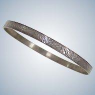 Vintage Solid Bangle Bracelet Sterling Silver circa 1960's ~ Leaf & Berry Embossed Design