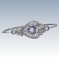 Vintage Bangle Bracelet Sterling Silver With Filigree Detail & Amethyst Accent