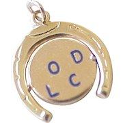 Good Luck Horseshoe Spinner Charm 14K Gold circa 1950's