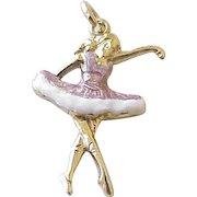 Ballerina Dancer Charm 14K Gold Colorful Enamel Accent circa 1950's