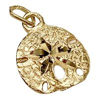 Sand Dollar Nautical Charm 14K Gold Three-Dimensional