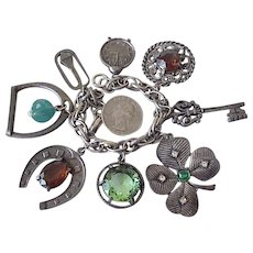 Big Colorful Jeweled Charm Bracelet, 8 Charms Silver Tone circa 1950's