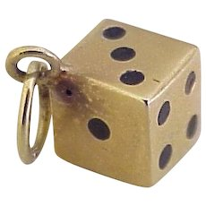 Dice / Die Vintage Charm 14K Gold Three-Dimensional Enameled Accent
