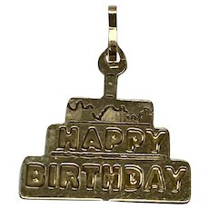 Happy Birthday / Birthday Cake Vintage Charm 14K Gold