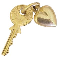 Key To My Heart Vintage Charms 14K Gold Three-Dimensional circa 1950's