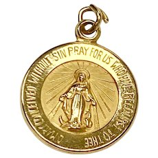 Small Immaculate / Miraculous Conception Medal / Charm 14K Gold