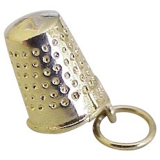 Sewing Thimble Vintage Charm 14K Gold Three-Dimensional circa 1970's