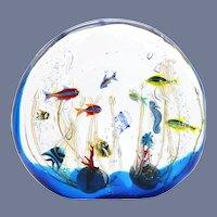Colossal ELIO RAFFAELI Jellyfish & seahorse FISH AQUARIUM Art Glass Sculpture