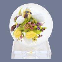 Exquisite Magnum PAUL STANKARD Flower BOUQUET Honey BEE Art Glass Paperweight Sphere