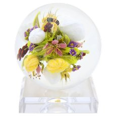 Exquisite Magnum PAUL STANKARD Flower BOUQUET Honey BEE Art Glass Paperweight Sphere