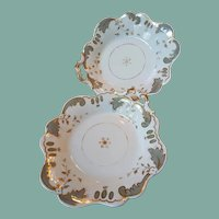 Pair early to mid 1800s British porcelain handled serving dishes elegant hand painted lovely shape