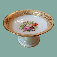 Antique mid 1800s footed dish compote hand painted porcelain floral motif peachy edge trim