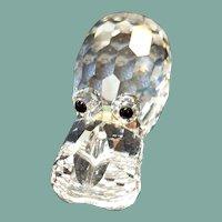Vintage Swarovski silver crystal hippo figurine sparkling and adorable with original box