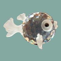 Vintage Swarovski crystal puffer blowfish figurine pre 1990