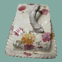 Late 1800's S B & S British pottery large covered cheese dish with serpent handle and chrysanthemum transfer decoration