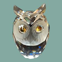 "Vintage Woodland Friends sparkling Swarovski crystal Owl figurine large 2 1/2"" Max Schreck"