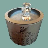 Vintage Swarovski crystal trumpeting Nativity angel figurine in original box