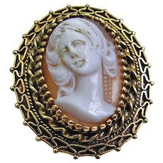 Vintage 14K Carved Shell Cameo Pendant or Brooch Heavy 11.0 grams