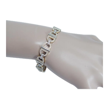 "Estate 14K White Gold 3.70ct Diamonds Bracelet Made in Italy 7-3/8"" Long"