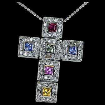 Estate Auth BITA 14K White Gold Diamond Multi-color Sapphire Cross Pendant Chain