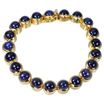 """Exceptional 18K Gold 22cts Sapphire Bracelet 7.25"""" long ~ Estate Jewelry"""