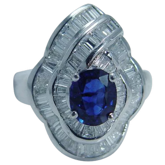 Estate Jewelry $4999 Sapphire 1.62ct Diamond 18K White Gold Ring