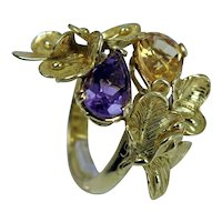 Vintage Italy 18K Gold Amethyst Citrine Flowers Cocktail Ring Heavy 11.2g