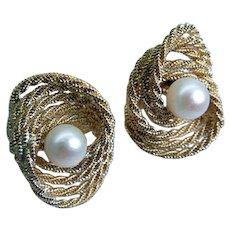 Designer UNOAERRE 14K Gold Pearl Earrings ITALY