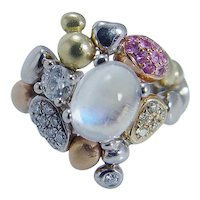 Paul Morelli Pebble Collection Moonstone Diamonds Pink Sapphire Ring 18K Gold