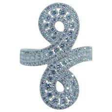 Estate 18K White Gold 2.14ct VVS2 G Diamonds Infinity Cocktail Ring Jewelry $7450