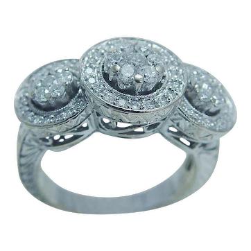Vintage 14K White Gold 1ct Diamond Etched Band Wedding Anniversary Ring Jewelry