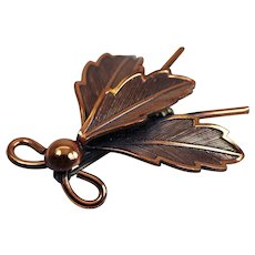 """Vintage Fly Brooch Pin Signed """"COPPER BELL"""""""