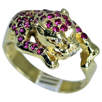 Fabulous Estate Panther Ring with Rubies and Diamonds