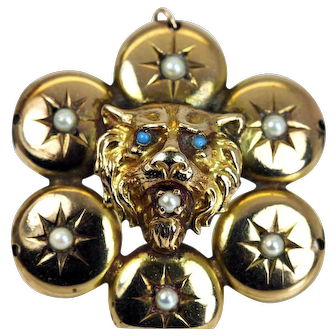 Antique Lion Head Seed Pearl Turquoise Pendant and Chain 10K Gold