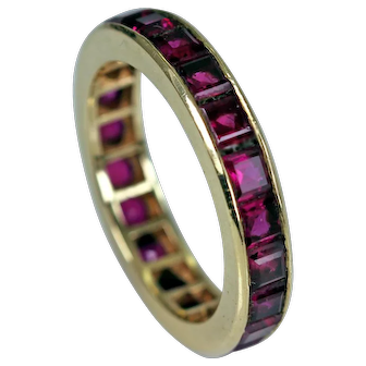 Natural Ruby Eternity Band Ring 14K Gold ~ Estate Jewelry Finest Quality Gems