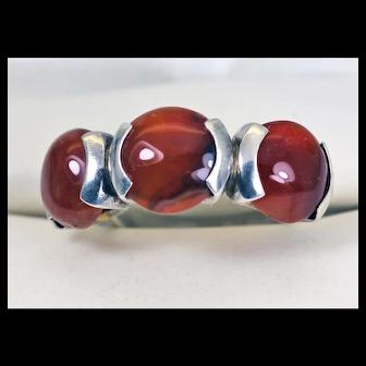 Fabulous Carnelian Modernist Ring Sterling Silver
