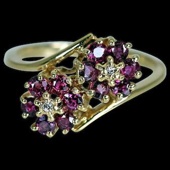 Finest Ruby Flowers Diamond 14K Gold Ring