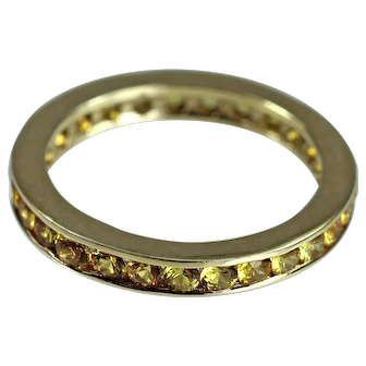 Finest Natural Yellow Sapphire 18K Gold Eternity Band Ring Estate Jewelry