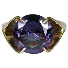 Estate 14K Yellow Gold Amethyst Solitaire Ring