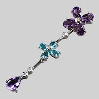 Romantic Amethyst, Blue Topaz and Diamond 14k White Pendant