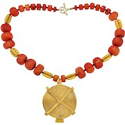 Bold Coral and Gold-Plated Baule-Inspired Vintage Necklace