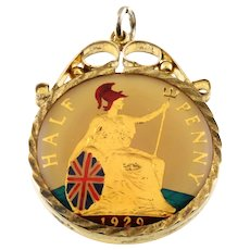 Enameled 1929 Half-Penny in a Vintage Fob Pendant