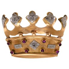 1940s 14k Rose Gold and Ruby Crown Brooch with Diamonds in Platinum