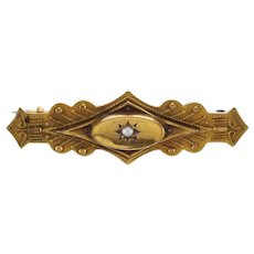 Excellent Victorian Etruscan Revival 15ct Brooch