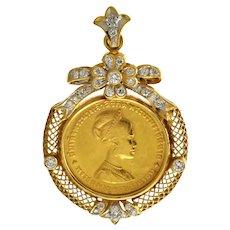 1968 Thai Queen Sirikit Coin in 20k Diamond Studded Ribbon Bezel Pin/Pendant